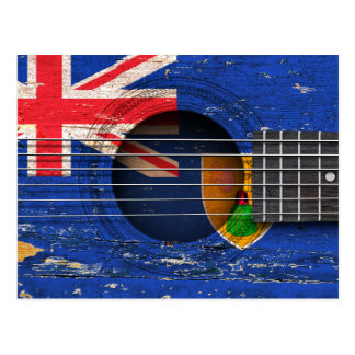 Turks and Caicos Flag on Old Acoustic Guitar Postcard
