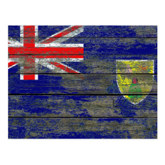Turks and Caicos Flag on Rough Wood Boards Effect Postcard