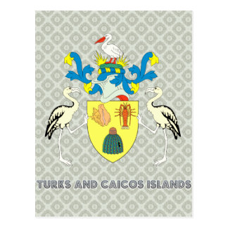 Turks and caicos islands coat of arms postcards