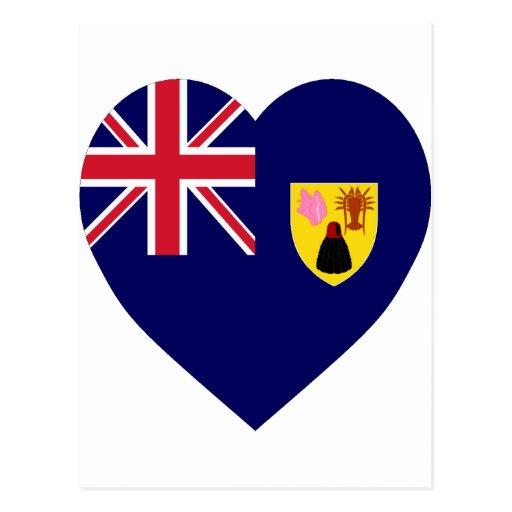 Turks and Caicos Islands Flag Heart Post Card