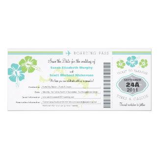 Turks & Caico Save the Date Boarding Pass 10 Cm X 24 Cm Invitation Card