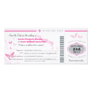Turks & Caico Save the Date Boarding Pass 10 Cm X 24 Cm Invitation Card