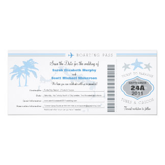 "Turks & Caico Save the Date Boarding Pass 4"" X 9.25"" Invitation Card"