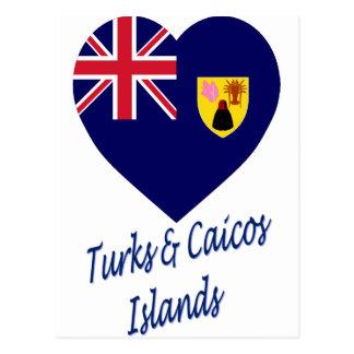 Turks Caicos Islands Flag Heart Postcards