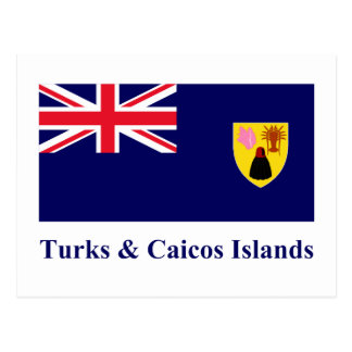 Turks Caicos Islands Flag with Name Post Card