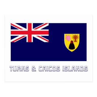 Turks Caicos Islands Flag with Name Post Cards