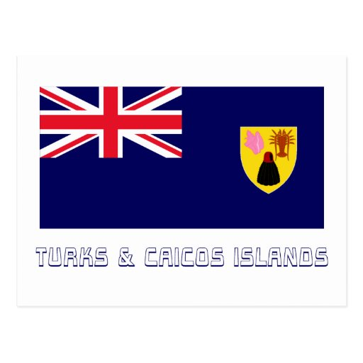 Turks & Caicos Islands Flag with Name Post Cards