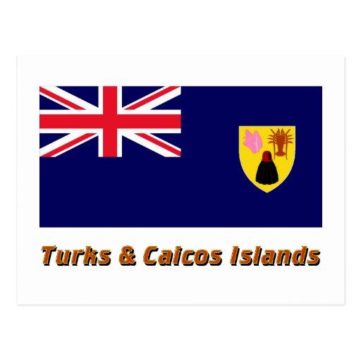 Turks & Caicos Islands Flag with Name Post Card