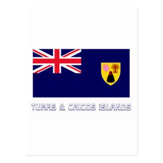 Turks Caicos Islands Flag with Name Postcards