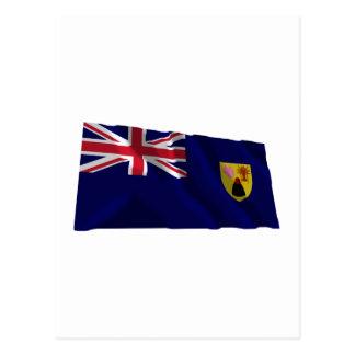 Turks Caicos Islands Waving Flag Postcards