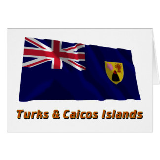 Turks & Caicos Islands Waving Flag with Name Greeting Card