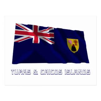 Turks Caicos Islands Waving Flag with Name Postcards