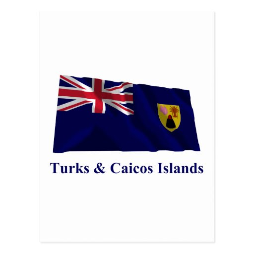 Turks & Caicos Islands Waving Flag with Name Post Card