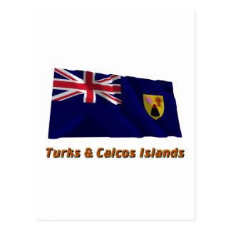 Turks & Caicos Islands Waving Flag with Name Postcard