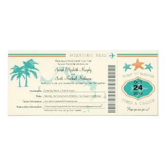 Turks & Caicos Save the Date Boarding Pass 10 Cm X 24 Cm Invitation Card