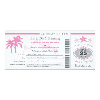 "Turks & Caicos Save the Date Boarding Pass 4"" X 9.25"" Invitation Card"