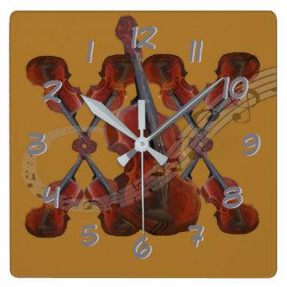 Turn Back the Time Backwards Clock-Violins Square Wall Clock