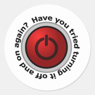 Turn It On & Off - Button Logo Round Sticker
