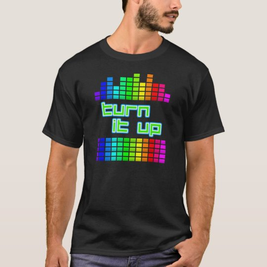 turn it up bright dj t shirt graphic
