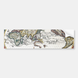 Turn of the 18th century world map bumper sticker