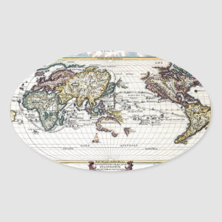 Turn of the 18th century world map oval sticker