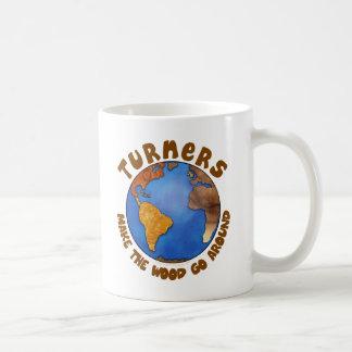 Turners Globe Funny Woodturning Earth Basic White Mug