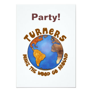 Turners Globe Funny Woodturning Earth Personalized Invite