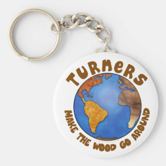 Turners Globe Funny Woodturning Earth Key Ring