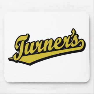 Turner's script logo in Gold Mouse Mats