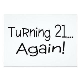 Turning 21 Again 13 Cm X 18 Cm Invitation Card