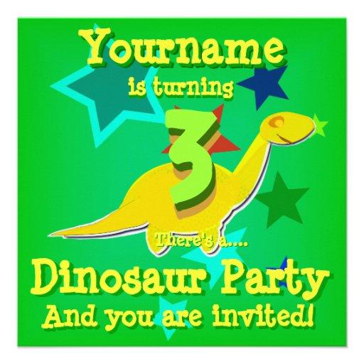 Turning 3 Birthday Dinosaur Party Invitations 13 Cm X 13
