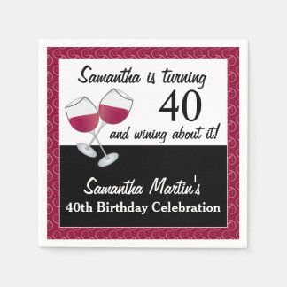 Turning 40 and Wining, Red Wine Birthday Party Paper Serviettes