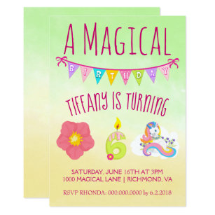 Turning 6 Years Old Unicorn Theme Birthday Party Invitation