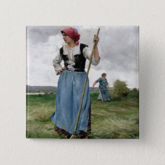 Turning the Hay (oil on canvas) 15 Cm Square Badge