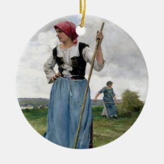 Turning the Hay (oil on canvas) Christmas Ornament