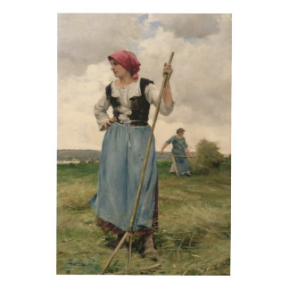 Turning the Hay (oil on canvas) Wood Prints