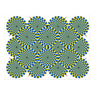 Turning Wheel Optical Illusion Green Spiral Circle Postcard