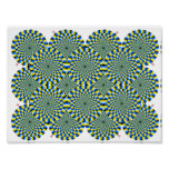 Turning Wheels Optical Illusion Green Hypnotise Poster