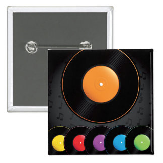 Turntable Records In Vivid Colors 15 Cm Square Badge