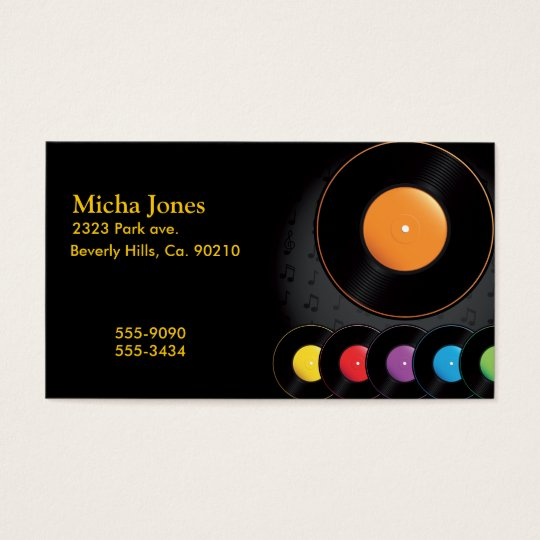 Turntable Records In Vivid Colours Business Card