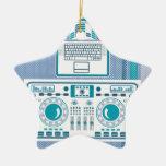 Turntable with Laptop DJ equipment Vector Ceramic Star Decoration