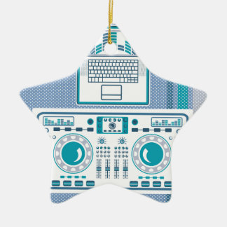 Turntable with Laptop DJ equipment Vector Christmas Ornament