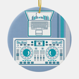 Turntable with Laptop DJ equipment Vector Round Ceramic Decoration