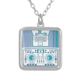Turntable with Laptop DJ equipment Vector Silver Plated Necklace