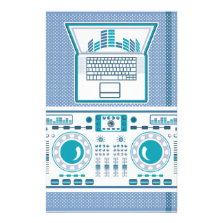 Turntable with Laptop DJ equipment Vector Stationery Paper