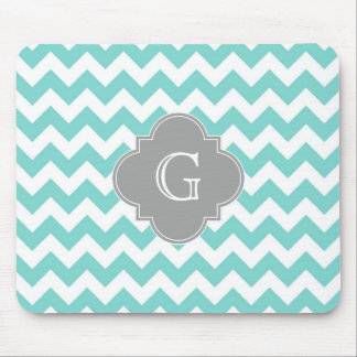Turq / Aqua White Chevron Gray Quatrefoil Monogram Mousepads