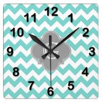 Chevron Quatrefoil Monogram Wall Clock