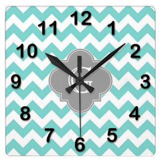 Turq / Aqua White Chevron Gray Quatrefoil Monogram Square Wall Clock