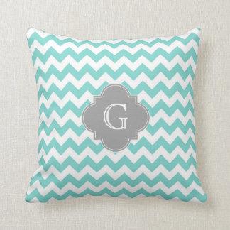 Turq / Aqua White Chevron Gray Quatrefoil Monogram Throw Pillow