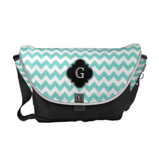 Turq / Aqua Wht Chevron Black Quatrefoil Monogram Messenger Bag